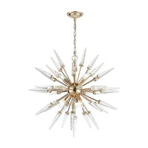 Valkyrie - Modern/Contemporary Style w/ Mid-CenturyModern inspirations - Crystal and Metal 6 Light Pendant - 65 Inches tall 28 Inches wide