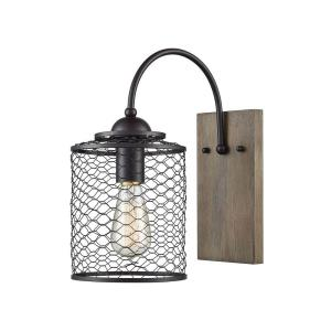 Eagle's Rest - Modern/Contemporary Style w/ Urban/Industrial inspirations - Metal and Wood 1 Light Wall Sconce - 14 Inches tall 7 Inches wide