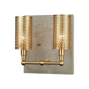 Fuego - Modern/Contemporary Style w/ ModernFarmhouse inspirations - Concrete and Metal 2 Light Wall Sconce - 11 Inches tall 10 Inches wide