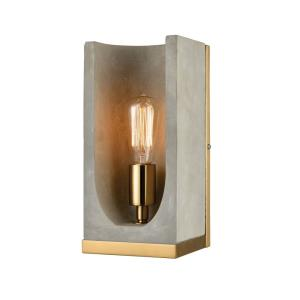 Shelter - Modern/Contemporary Style w/ ModernFarmhouse inspirations - Concrete and Metal 1 Light Wall Sconce - 12 Inches tall 6 Inches wide