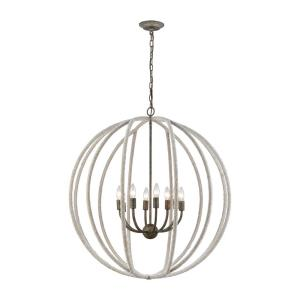 Lasso - Transitional Style w/ Coastal/Beach inspirations - Metal and Rope 8 Light Chandelier - 35 Inches tall 32 Inches wide