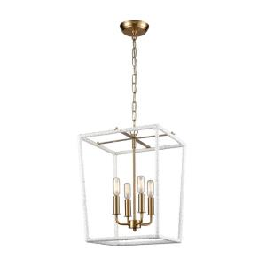 Kingdom - Transitional Style w/ ModernFarmhouse inspirations - Metal and Rope 4 Light Pendant - 18 Inches tall 14 Inches wide