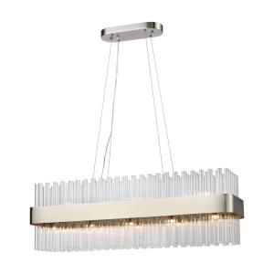 Such Teeth - Modern/Contemporary Style w/ Mid-CenturyModern inspirations - Glass and Metal 13 Light Pendant - 13 Inches tall 39 Inches wide