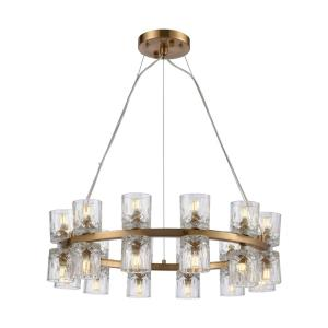 Double Vision - Modern/Contemporary Style w/ Luxe/Glam inspirations - Glass and Metal 24 Light Pendant - 8 Inches tall 25 Inches wide