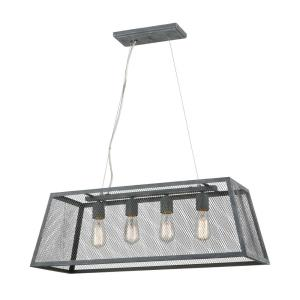 Barriton - Transitional Style w/ ModernFarmhouse inspirations - Metal 4 Light Pendant - 11 Inches tall 31 Inches wide
