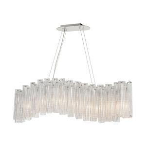 Diplomat - Transitional Style w/ Luxe/Glam inspirations - Glass and Metal 9 Light Island - 17 Inches tall 47 Inches wide