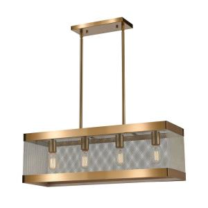 Line in the Sand - Modern/Contemporary Style w/ ArtDeco inspirations - Metal 4 Light Island - 9 Inches tall 28 Inches wide