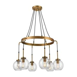 Mountain Creek - Transitional Style w/ ModernFarmhouse inspirations - Glass and Metal 6 Light Medium Pendant - 20 Inches tall 33 Inches wide