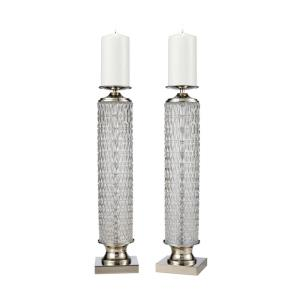 Chaufer - Transitional Style w/ Urban/Industrial inspirations - Glass and Metal Candle Holder (Set of 2) - 20 Inches tall 5 Inches wide