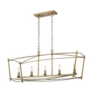 Trapan - Transitional Style w/ ModernFarmhouse inspirations - Metal 5 Light Island - 15 Inches tall 39 Inches wide