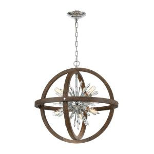 Morning Star - Transitional Style w/ Luxe/Glam inspirations - Crystal and Metal and Wood 10 Light Chandelier - 30 Inches tall 30 Inches wide
