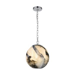 Blue Planetary - Transitional Style w/ Luxe/Glam inspirations - Glass and Metal 1 Light Pendant - 12 Inches tall 12 Inches wide