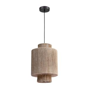 Corsair - Transitional Style w/ Coastal/Beach inspirations - Woven Jute 1 Light Mini Pendant - 18 Inches tall 12 Inches wide