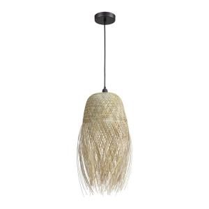 Marooner - Transitional Style w/ Coastal/Beach inspirations - Woven Bamboo 1 Light Pendant - 31 Inches tall 13 Inches wide