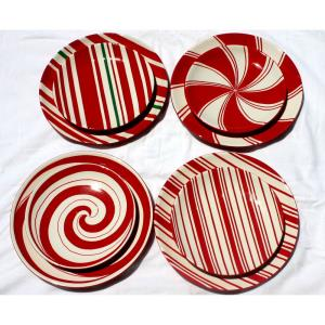 Candy Cane Style - 8 Inch Plate (Set of 4)