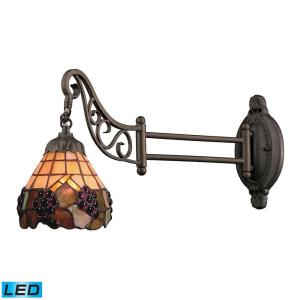 Mix- 9.5W 1 LED Swingarm Wall Sconce in Traditional Style with Victorian and Vintage Charm inspirations - 12 Inches tall and 7 inches wide