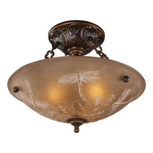 Restoration - 3 Light Semi-Flush Mount in Traditional Style with Victorian and Vintage Charm inspirations - 12 Inches tall and 16 inches wide