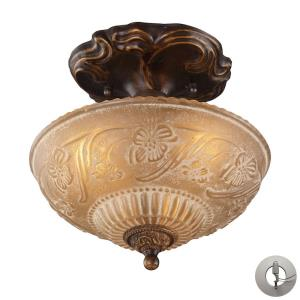 Restoration Flushes - 3 Light Semi-Flush Mount in Traditional Style with Victorian and Vintage Charm inspirations - 10 Inches tall and 10 inches wide