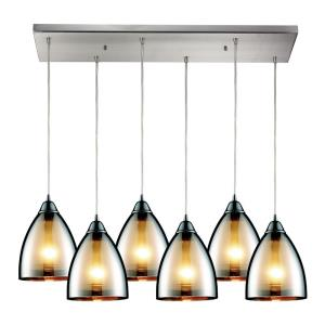Reflections - 6 Light Rectangular Pendant in Modern/Contemporary Style with Art Deco and Luxe/Glam inspirations - 9 Inches tall and 9 inches wide