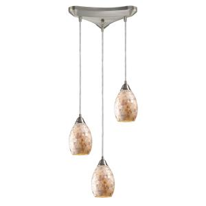 Capri - 3 Light Linear Pendant in Transitional Style with Coastal/Beach and Eclectic inspirations - 9 Inches tall and 5 inches wide