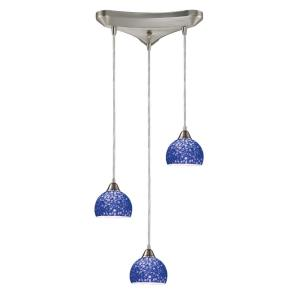 Cira - 3 Light Triangular Pendant in Transitional Style with Coastal/Beach and Eclectic inspirations - 6 Inches tall and 10 inches wide