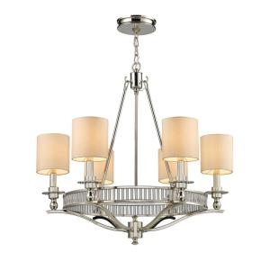 Braxton - 6 Light Chandelier in Transitional Style with Luxe/Glam and Art Deco inspirations - 27 Inches tall and 26 inches wide
