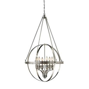 Hemispheres - 6 Light Chandelier in Transitional Style with Luxe/Glam and Art Deco inspirations - 51 Inches tall and 32 inches wide
