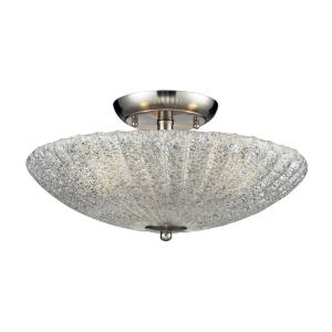 Luminese - 3 Light Semi-Flush Mount in Traditional Style with Luxe/Glam and Art Deco inspirations - 8 Inches tall and 16 inches wide