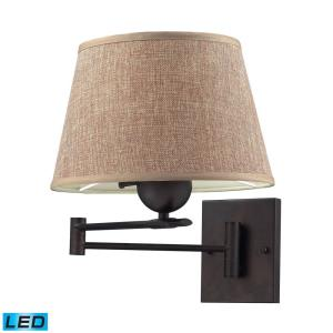 Swingarms - 9.5W 1 LED Swingarm Wall Sconce in Transitional Style with Country/Cottage and Coastal inspirations - 13 Inches tall and 11 inches wide
