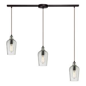 Hammered Glass - Three Light Linear Pendant