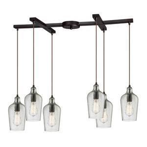 Hammered Glass - Six Light Rectangular Pendant