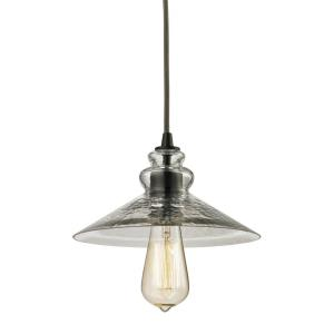 Hammered Glass - 1 Light Mini Pendant in Transitional Style with Modern Farmhouse and Vintage Charm inspirations - 5 Inches tall and 9 inches wide