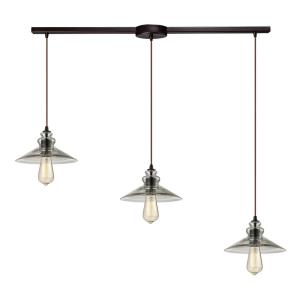 Hammered Glass - 3 Light Linear Pendant in Transitional Style with Modern Farmhouse and Vintage Charm inspirations - 5 Inches tall and 5 inches wide