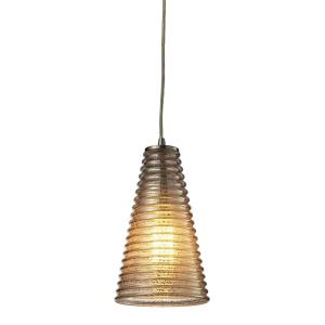 Ribbed Glass - 1 Light Mini Pendant in Transitional Style with Country/Cottage and Retro inspirations - 10 Inches tall and 6 inches wide
