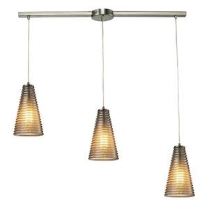 Ribbed Glass - Three Light Linear Pendant