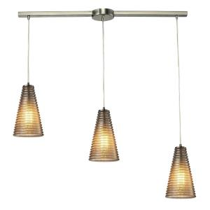 Ribbed Glass - 3 Light Linear Pendant in Transitional Style with Country/Cottage and Retro inspirations - 10 Inches tall and 5 inches wide