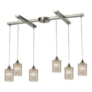 Kersey - 6 Light Rectangular Pendant in Modern/Contemporary Style with Luxe/Glam and Boho inspirations - 8 Inches tall and 9 inches wide