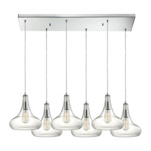 Orbital - 6 Light Rectangular Pendant in Modern/Contemporary Style with Mid-Century and Scandinavian inspirations - 12 Inches tall and 9 inches wide