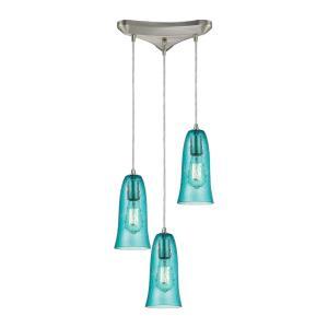 Hammered Glass - Three Light Triangular Pendant