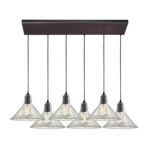Hand Formed Glass - 6 Light Rectangular Pendant in Transitional Style with Southwestern and Modern Farmhouse inspirations - 9 by 9 inches wide