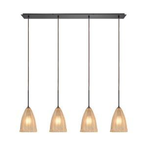 Calipsa - 4 Light Linear Pendant in Transitional Style with Southwestern and Vintage Charm inspirations - 16 Inches tall and 46 inches wide
