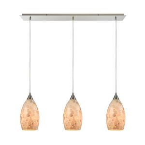 Capri - 3 Light Linear Mini Pendant in Transitional Style with Coastal/Beach and Boho inspirations - 9 Inches tall and 36 inches wide
