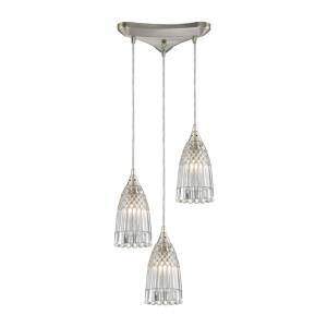 Kersey - 3 Light Triangular Pendant in Modern/Contemporary Style with Luxe/Glam and Boho inspirations - 8 Inches tall and 10 inches wide