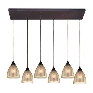 Layers - 6 Light Rectangular Pendant in Modern/Contemporary Style with Luxe/Glam and Retro inspirations - 9 Inches tall and 9 inches wide