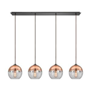 Revelo - 4 Light Linear Pendant in Modern/Contemporary Style with Luxe/Glam and Mid-Century Modern inspirations - 9 Inches tall and 46 inches wide