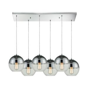 Revelo - 6 Light Rectangular Pendant in Modern Style with Luxe and Mid-Century Modern inspirations - 9 Inches tall and 32 inches wide
