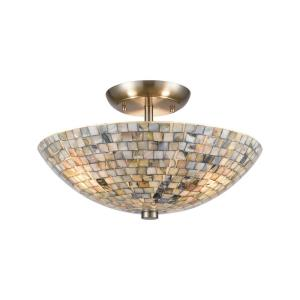 Capri - 3 Light Semi-Flush Mount in Transitional Style with Coastal/Beach  and Eclectic  inspirations - 9 Inches tall and 16 inches wide
