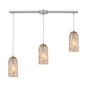 Ansegar - 3 Light Linear Mini Pendant in Modern/Contemporary Style with Luxe/Glam and Art Deco inspirations - 8 Inches tall and 38 inches wide