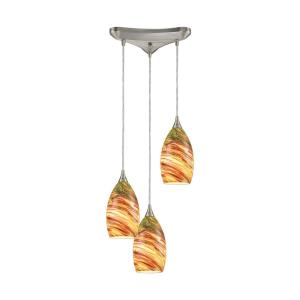 Collanino - 3 Light Triangular Pendant in Transitional Style with Coastal/Beach and Eclectic inspirations - 10 Inches tall and 12 inches wide