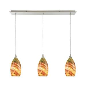 Collanino - 3 Light Linear Mini Pendant in Transitional Style with Coastal/Beach and Eclectic inspirations - 10 Inches tall and 36 inches wide
